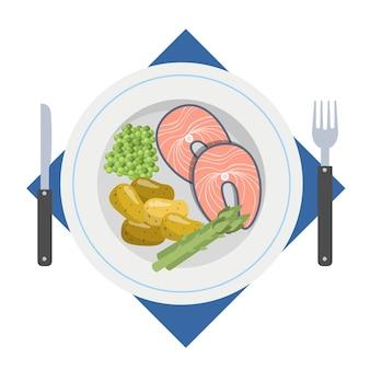 Вкусный ужин с рыбой и картофелем. вкусный обед с горячими блюдами из морепродуктов на тарелке. иллюстрация