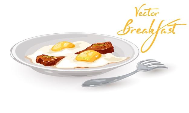 Вкусное блюдо яичница с желтком и ломтиком бекона подается на тарелке с вилкой