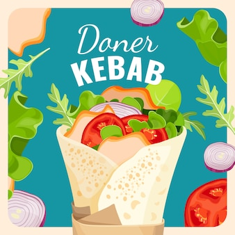 Tasty doner kebab with pieces of fried chicken and fresh vegetables