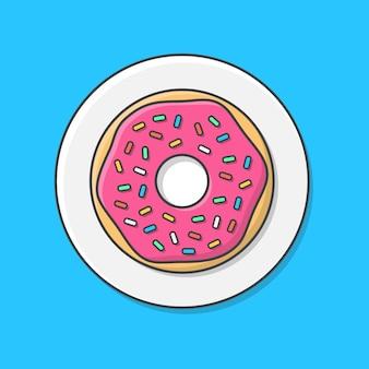 Вкусный пончик с глазурью на тарелке. пончики на тарелке, вид сверху, плоский