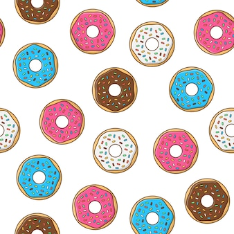 흰색 배경에 유약과 분말 원활한 패턴으로 맛있는 도넛. 도넛 아이콘 벡터 일러스트 레이 션