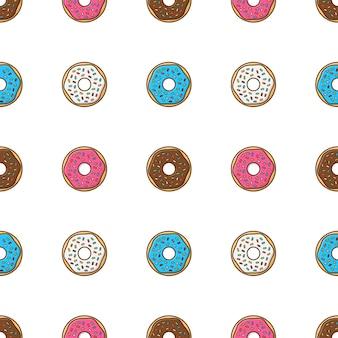 Вкусные пончики с глазурью и порошком бесшовные модели