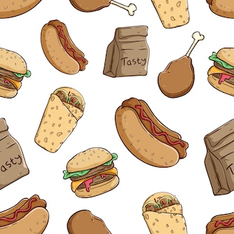 Tasty fast food seamless pattern with colored doodle style