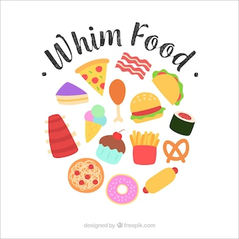 Tasty food background with flat design