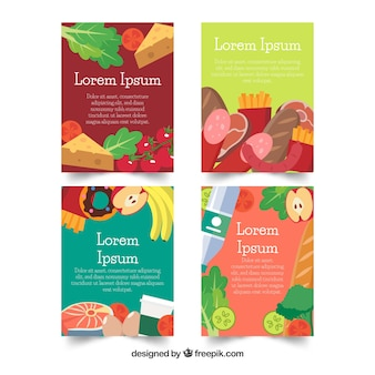 Tasty food card collection with flat design