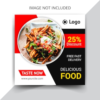 Tasty food social media post template