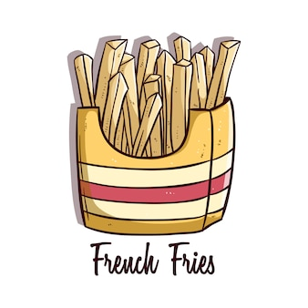 Tasty french fries with colored doodle or hand drawn style