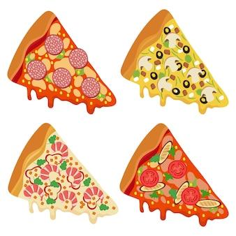 白い背景で隔離のおいしい新鮮なピザのスライス