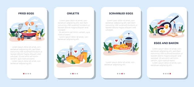 Tasty fried eggs for breakfast mobile application banner set. scrambled egg with vegetables and bacon. delicious food in the morning. yellow yolk.