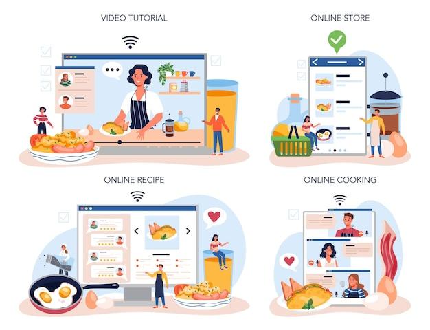 Вкусная яичница на завтрак онлайн-сервис или набор платформ. яичница с овощами и беконом. еда по утрам. интернет-кулинария, магазин, рецепт, видеоурок.