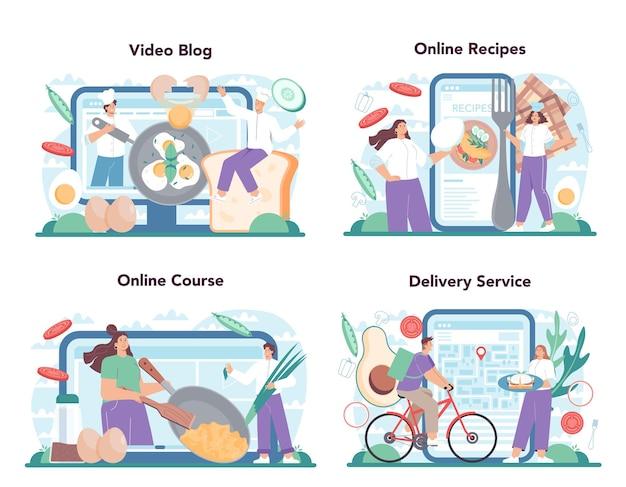 맛있는 계란 후라이 온라인 서비스 또는 플랫폼 세트 스크램블 프라이