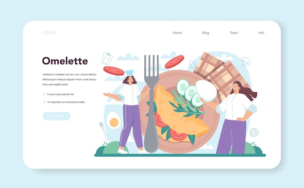 Tasty fried eggs web banner or landing page. omelette with vegetables and bacon for breakfast. delicious food in the morning. flat vector illustration