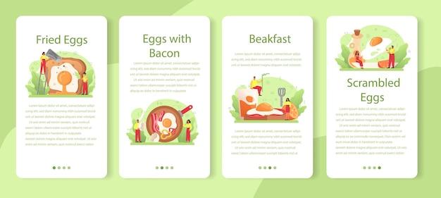 朝食のモバイルアプリケーションバナーセットのための野菜とベーコンとおいしい目玉焼き