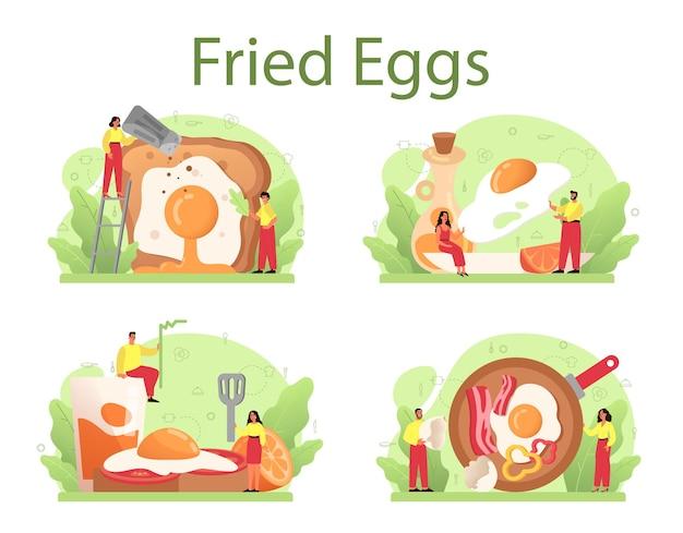 朝食セットに野菜とベーコンを添えたおいしい目玉焼き。スクランブルエッグ。朝は美味しいもの。黄色い卵黄。孤立