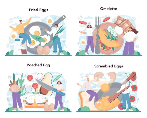 Вкусная яичница с овощами и беконом на завтрак. омлет, яичница-пашот, яичница-пашот. вкусная еда по утрам. плоские векторные иллюстрации