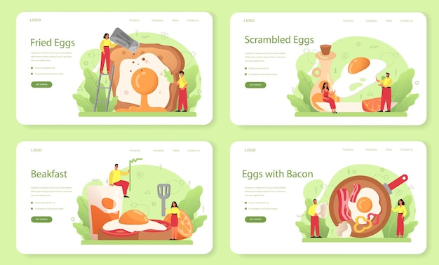 Tasty fried eggs with vegetables and bacon for breakfast web banner or landing page set.