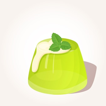 Tasty green jelly creme and mint in cartoon style