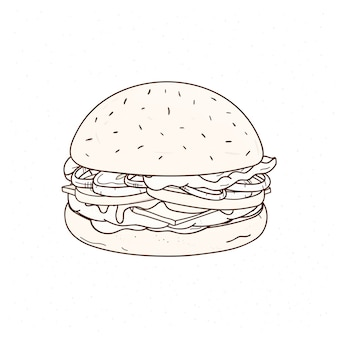 輪郭線で描かれたおいしいハンバーガー手。ジューシーなハンバーガーまたはサンドイッチ、ミートパテ、チーズ、野菜、おいしいファーストフードの食事の描画