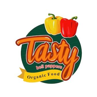 Tasty healthy meal bell pepper paprika emblem badge