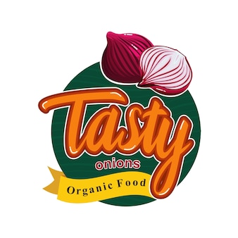 Tasty healthy meal with onion flavor emblem badge sticker
