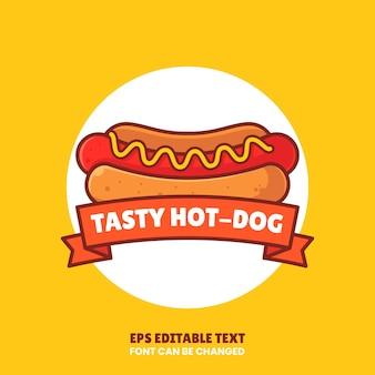 おいしいホットドッグのロゴベクトルアイコンイラストレストランのフラットスタイルのプレミアムファーストフードのロゴ