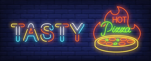 Tasty hot pizza neon sign. round pizza with fire in dark blue wall.