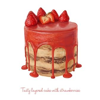 Вкусный многослойный торт с клубникой