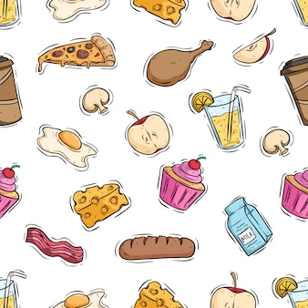 Tasty lunch food in seamless pattern with colored hand drawn style