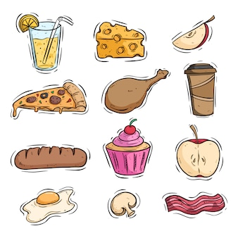 Tasty lunch food with colored hand drawn style on white background