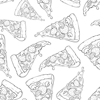 Tasty melted pizza slice in seamless pattern with doodle or sketch style