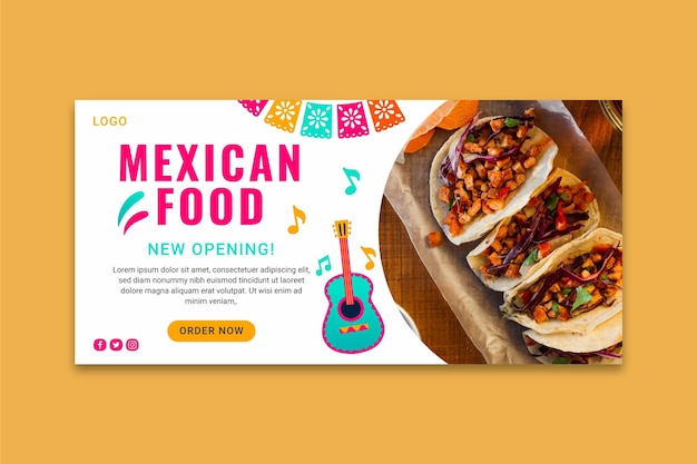 Tasty mexican food banner template