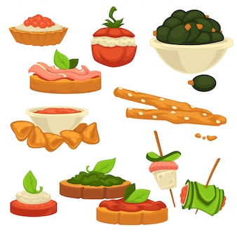 Tasty nutritious snack with vegetables and sauces set