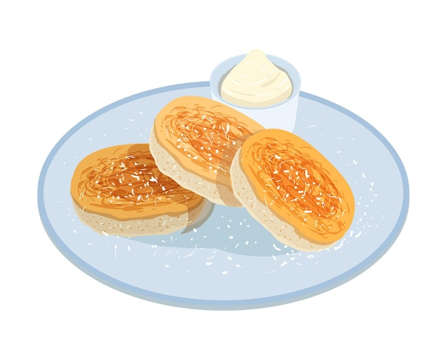 Tasty pancakes, oladyi or syrniki lying on plate with sour cream isolated on white b
