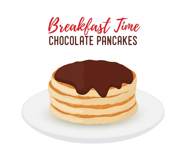 Tasty pancakes with chocolate on white plate