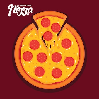 Tasty pepperoni pizza vector illustration