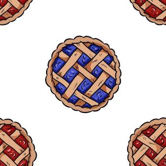맛 있는 파이 한다면 원활한 테두리 패턴입니다. 귀여운 만화 맛있는 과자 반복 가능한 배경 타일입니다. 포장 디자인, 벽지에 대한 재고 일러스트레이션의 아늑한 템플릿