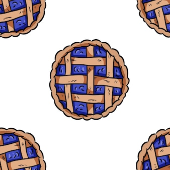 Tasty pie doodles seamless border pattern. cute cartoon tasty pastry repeatable background tile. cozy template of stock illustration for wrapping design, wallpaper