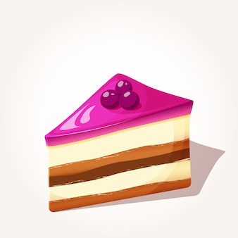 Tasty piece of berries cake with jelly in cartoon style