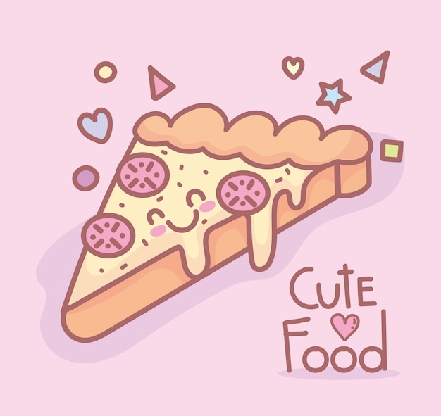 Tasty pizza character menu restaurant cartoon food cute