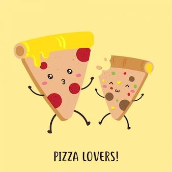 맛있는 피자 귀여운 행복 만화 캐릭터 벡터 디자인