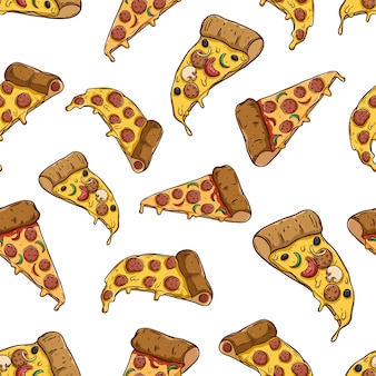 Tasty pizza slice in seamless pattern with colored hand drawn style