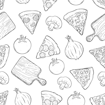 Tasty pizza slice with cutting board and vegetables in seamless pattern