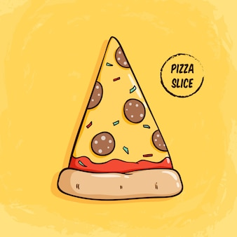 Tasty pizza slice with pepperoni and cheese topping. cute pizza slice with colored doodle style