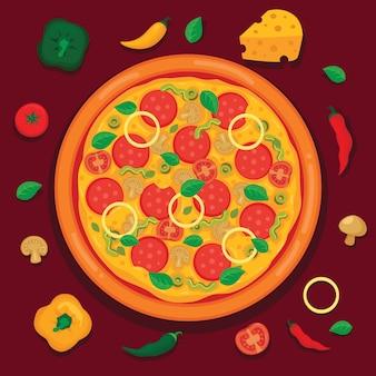 Tasty pizza vector illustration