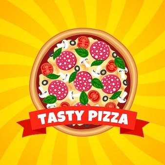 ウェブ、広告、メニューの縞模様の黄色の背景にリボンの上面図でおいしいピザ。