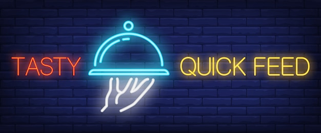 Tasty quick feed sign in neon style