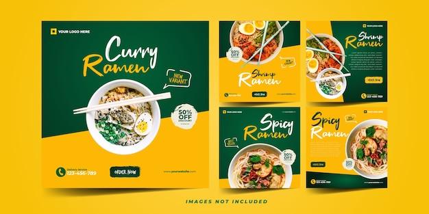Tasty ramen noodle instagram template for social media advertising