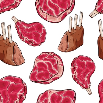 Tasty raw meat and steak in seamless pattern
