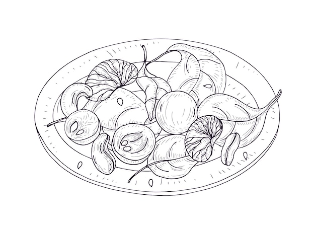 Tasty salad on plate hand drawn with contour lines. delicious restaurant veggie meal made of fruits, nuts and spinach leaves