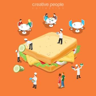 Вкусный сэндвич-ресторан меню быстрого питания плоский изометрический